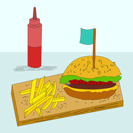 Vegan burger with beetroot cutlet and French fries on a wooden board. Ketchup in a jar. Modern flat design