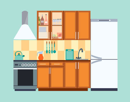 Kitchen interior with furniture and appliances vector illustration. Modern flat style vector illustration Vektorgrafik