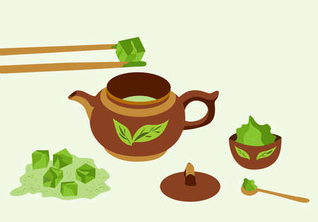 Matcha tea set: teapot, spoon, cup, matcha green tea, sticks. Asian japanese and chinese drink ceremony. Objects isolated on white. Vector illustration Çizim