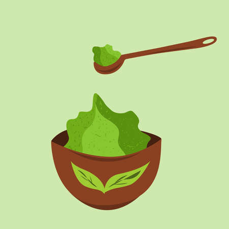 Matcha tea in a cup and spoon with matcha. Vector isolated illustration.
