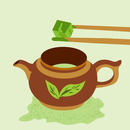 Teapot with matcha tea. Bamboo sticks hold a cube of matcha tea. Japanese ceremony with Matcha. Flat vector illustration