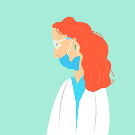 Young female doctor wearing the mask and eyeglasses. Vector flat illustration Illusztráció