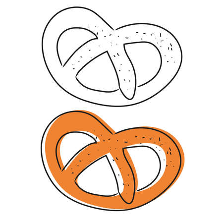 Hand drawn pretzel isolated on white background. Pretzel icon vector illustration in sketch style.