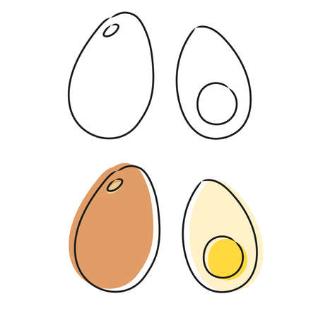 Vector eggs in doodle style. Sketch. Isolated on white background.