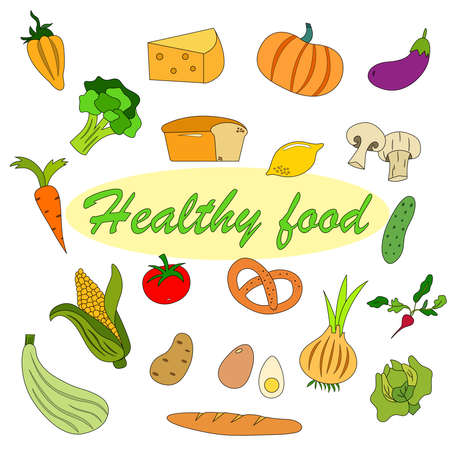 Set of products for healthy food. Healthy lifestyle. Vector illustration.