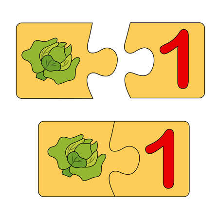 Educational game for kids. Find the right picture for the number. Puzzle with number one and cabbage. Puzzle Game, Mosaic. Type numbers