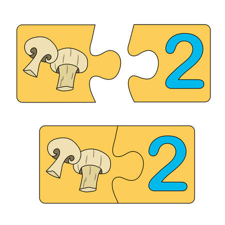 Educational game for kids. Find the right picture for the number. Puzzle with number two and mushrooms champignons. Puzzle Game, Mosaic. Type numbers Illusztráció