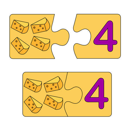 Educational game for kids. Find the right picture for the number. Puzzle with number four and cheese. Puzzle Game, Mosaic. Type numbers