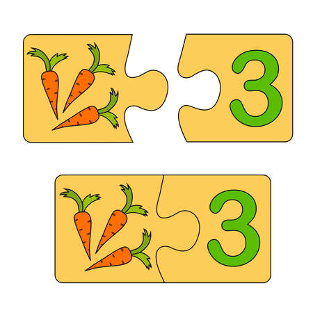 Educational game for kids. Find the right picture for the number. Puzzle with number three and carrots. Puzzle Game, Mosaic. Type numbers