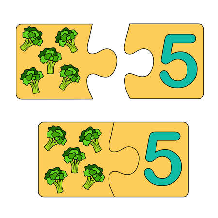 Educational game for kids. Find the right picture for the number. Puzzle with number five and broccoli. Puzzle Game, Mosaic. Type numbers