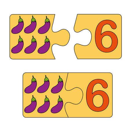 Educational game for kids. Find the right picture for the number. Puzzle with number six and eggplant. Puzzle Game, Mosaic. Type numbers. Illusztráció