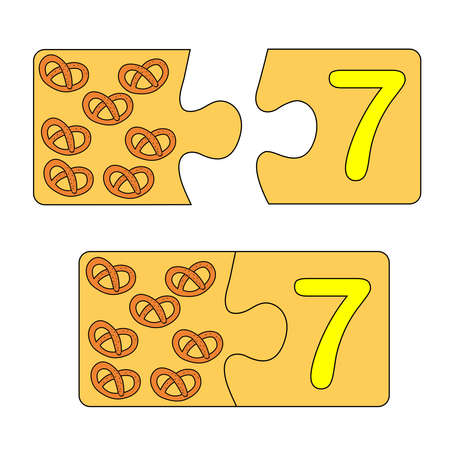 Educational game for kids. Find the right picture for the number. Puzzle with number seven and pretzel. Puzzle Game, Mosaic. Type numbers