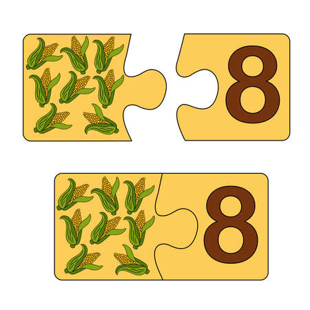 Educational game for kids. Find the right picture for the number. Puzzle with number eight and corn. Puzzle Game, Mosaic. Type numbers