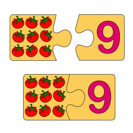 Educational game for kids. Find the right picture for the number. Puzzle with number nine and tomatoes. Puzzle Game, Mosaic. Type numbers Illusztráció