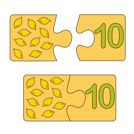 Educational game for kids. Find the right picture for the number. Puzzle with number ten and lemons. Puzzle Game, Mosaic. Type numbers. Illusztráció