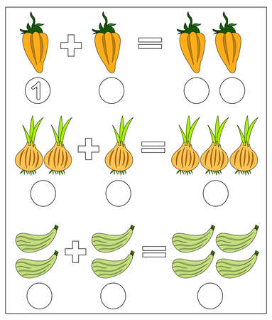 Educational game for kids. Solve math examples for addition. Fold vegetables: pepper, onion, zucchini Illusztráció