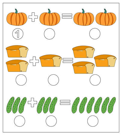 Educational game for kids. Solve math examples for addition. Fold pumpkin, bread, cucumbers