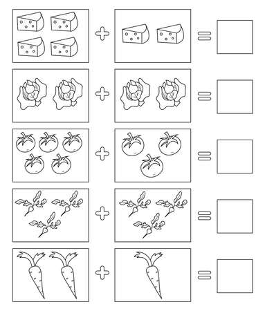Educational game for kids. Coloring page. Solve math examples for addition. Fold food.