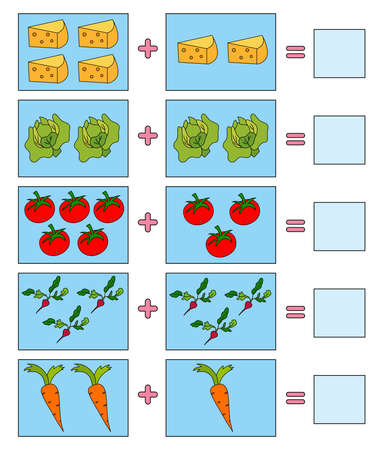 Educational game for kids. Colorful food. Solve math examples for addition. Fold food. Illusztráció
