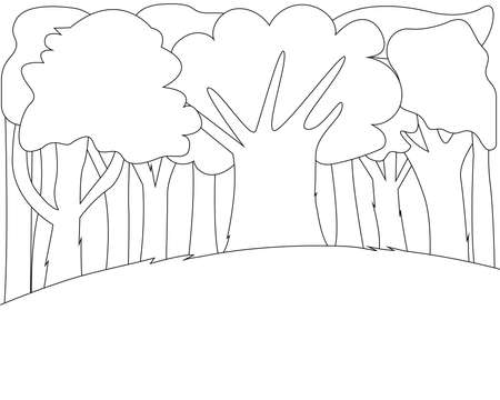 Coloring page. Big trees and a meadow. Beautiful landscape of nature. Fresh forest