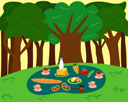 Vector flat illustration of a tasty picnic scene in the woods. Coffee break in the forest. Green trees and meadow
