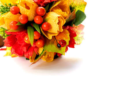Bouquet of flowers and berries for congratulations on the day of knowledge on a white background space for text