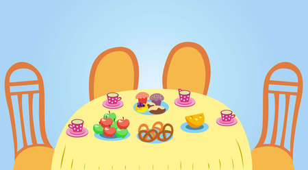 Tea break. Table with treats: tea in cups and saucers, apples, muffins, pretzels. Vector colorful illustration
