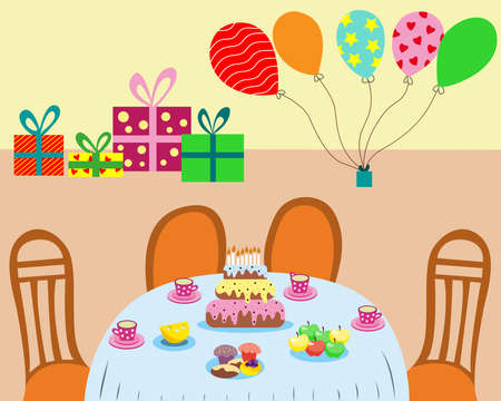 Birthday party. Festive birthday table with cake and delicious food. Packaged balloons and gifts.