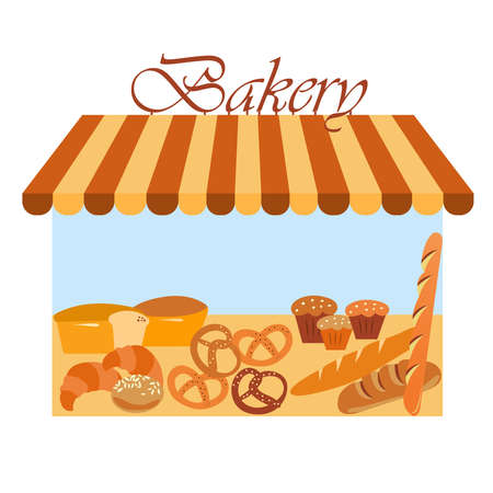Bakery shop building. Different types of baked goods. Modern architecture. Vector flat design. Grocery store front. Business illustration.