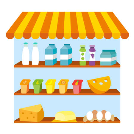 Showcase with dairy products. Milk products icon set, flat style. Farm foods. Vector illustration