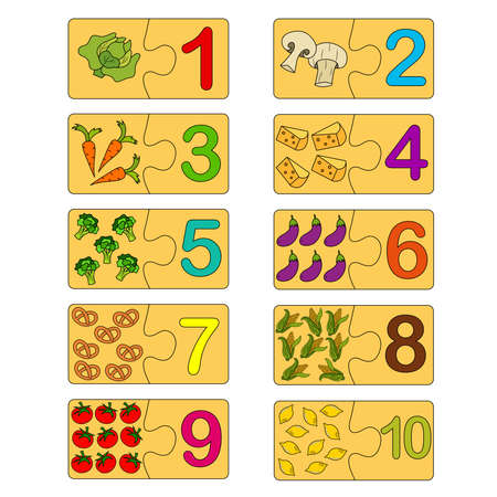 Educational game for kids. Correct version of assembled puzzles. Collection puzzle with numbers and vegetables. Puzzle Game, Mosaic. Type numbers.
