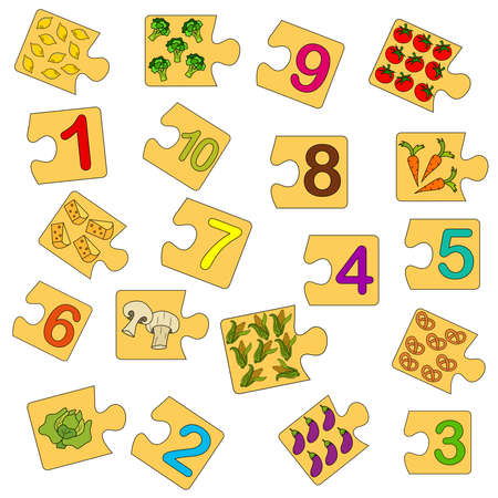 Educational game for kids. Find the right picture for the number. Collection puzzle with numbers and vegetables. Puzzle Game, Mosaic. Type numbers Illusztráció
