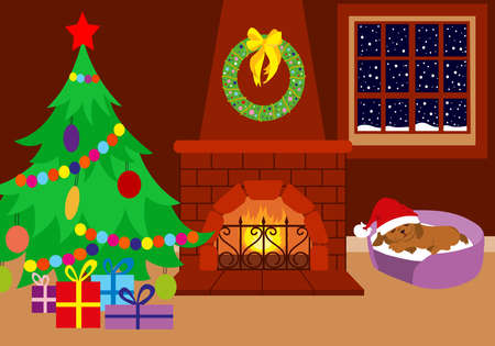 Christmas room. The fireplace is decorated with a Christmas wreath. It is snowing outside. Christmas tree, gifts and cute puppy in a red Santa Claus hat. Cozy room interior.