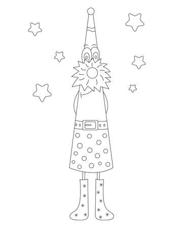 Coloring book. Fantasy character christmas gnome isolated on white background. Around stars. Christmas gnome vector Illusztráció