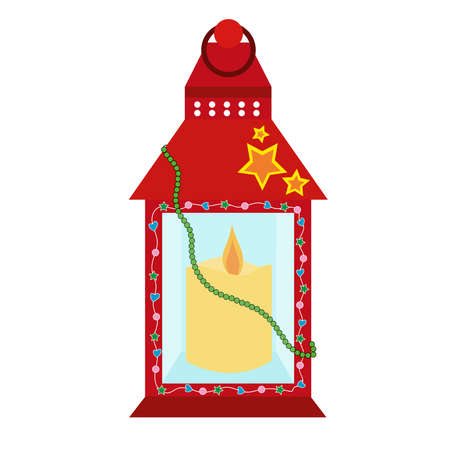 Red festive lantern with a candle inside and beads isolated on white background