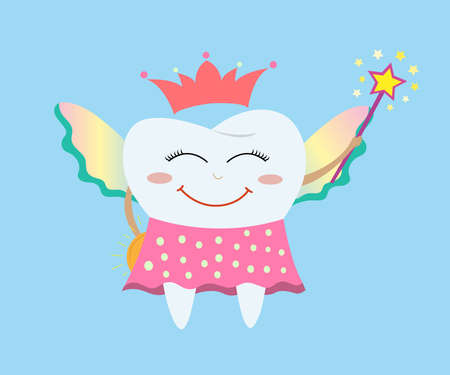 Tooth fairy wearing a polka dot skirt, crown and holding a star magic wand and coin. Tooth fairy flies and hides a coin. The tooth fairy collects children's teeth