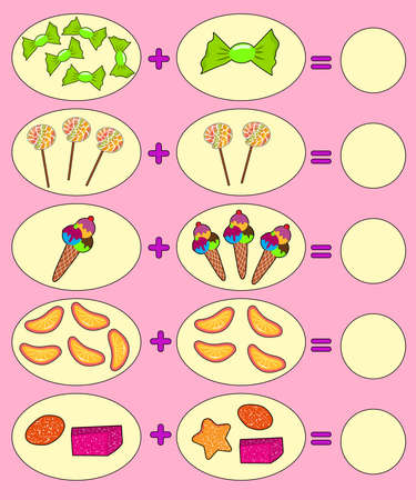 Educational game for kids. Colorful food. Solve math examples for addition. Fold candies