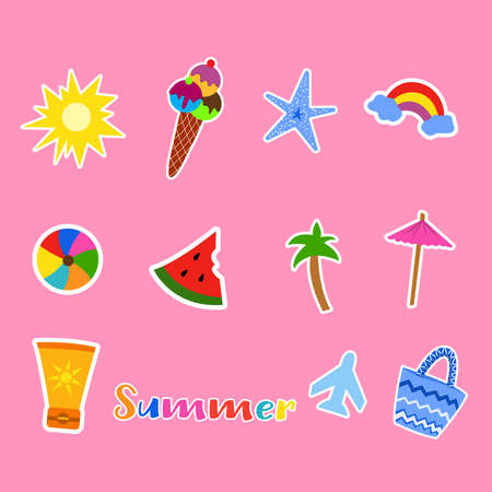 Set of summer stickers for design. Vector illustration on pink background. Beach stickers starfish, ball, sunscreen, plane, ice cream, sun