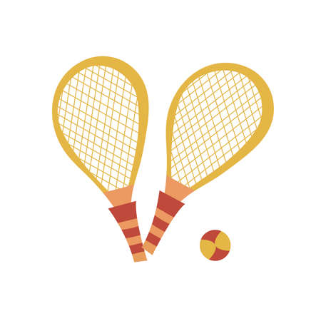 Yellow tennis rackets on a white background. Isolated summer elements. Vector illustration.