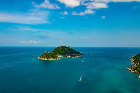 Aerial image of Nangyuan Island at Koh Tao in Thailand