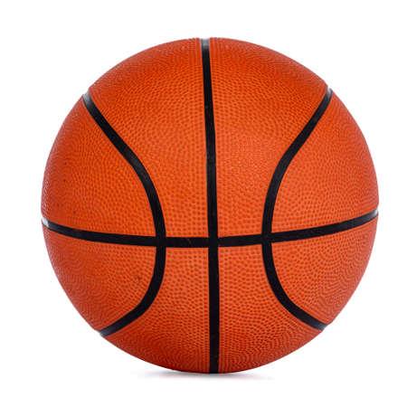 Close up studio shot of orange basket ball, isolated on white background.