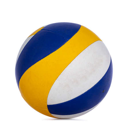 Close up studio shot of white, blue and yellow volley ball, isolated on white background.