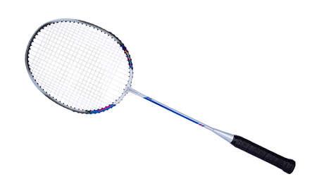 Close up studio shot of badminton racket, isolated on white background. Stock fotó