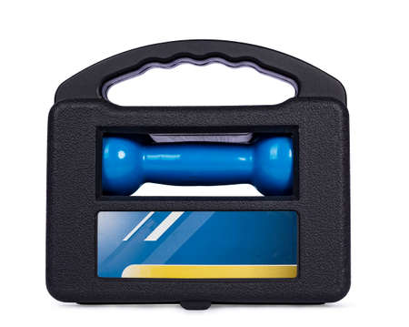 Close up studio shot of package  blue dumbells in box, isolated on white background.