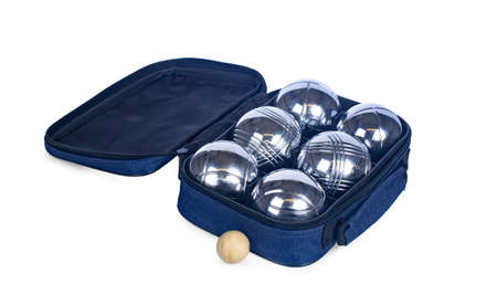 Close up studio shot of jeu des boules set in blue bag, isolated on white background.