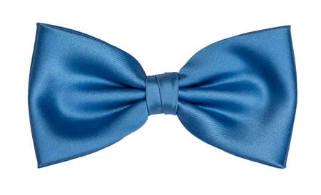 Top view of light blue bow tie, isolated on white background.