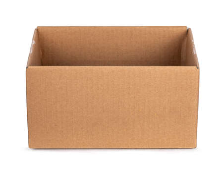 Empty brown carton box, isolated on a white background. Flaps folded insert. 版權商用圖片
