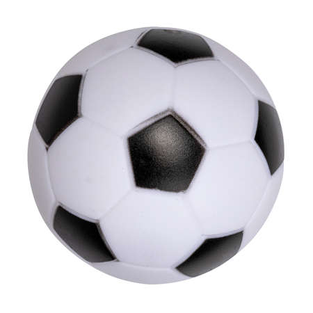 Top view of toy black and white football. Isolated on a white background.