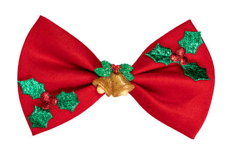 Top view of red Christmas bow tie, isolated on white background.