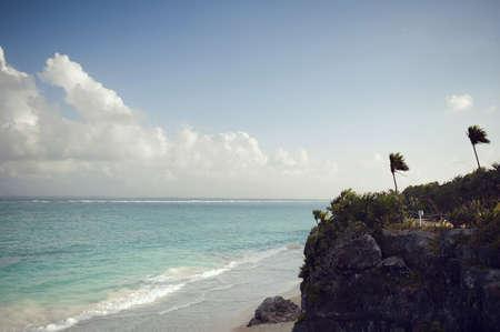 yucatan: Mexican ocean landscape Tulum Stock Photo